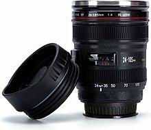 Everteco Kameraobjektiv-Kaffeetasse mit Saugnapf auf Unterseite, BecherTasse Edelstahl Tumbler Cup - cooles Geschenk EF 24-105mm f / 4L IS USM,Kamera Objektiv Tasse, Isolierte Reise Kaffee Tasse, Reise Thermosflasche – 320ml Kapazitä