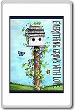 Everything Grows With Love - Motivational Quotes Fridge Magnet - Kühlschrankmagne