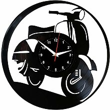 EVEVO Vespa Wanduhr Vinyl Schallplatte Retro-Uhr