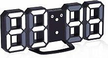 EVILTO- LED Digital-Wecker dimmbar, Digital LED Tisch & Wanduhr Wecker mit einstellbarer Helligkeit Funktion für Schreibtisch Wand Bett (Schwarz-Weiß)