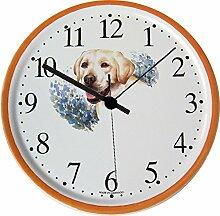EVIT Artline 150427 Keramik Wanduhr Hund beige Labrador, Hellbraunrand handgemal