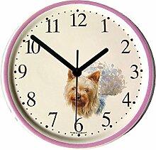 EVIT Artline 150434A Keramik Wanduhr Hund Yorkshire Terrier Pink-Violet Rand handgemal