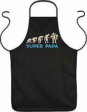 Evolution Grillprofi Männer Fun Grillschürze Kochschürze - SUPER PAPA zum Vatertag Geburtstag Dankeschön Vater Grill Accessoires Kochen grillen - Schürze Latzschürze in schwarz : )