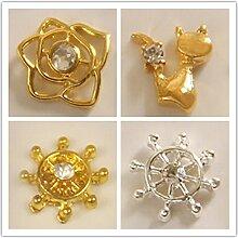 Evtech(tm) 12 PC Nagel-Aufkleber Strass Foral Blumen-Diamant-Edelsteine ??Cat 3D-Alloy Goldene silberne Art und Weise Art-Nagel-Kunst-Werkzeug-Carve-Nagel-Aufkleber-Dekoration-Aufkleber Glitter Tatoo