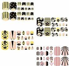 Evtech(tm) 4 Art bunte reizende nette Karikatur-Zehe-Nagel-Aufkleber Blumenherz Bowknot Stern voller Nail Wrap Nagel-Abziehbilder Strips Gradient-Nagellack-Strips Nagel-Kunst-Folien-Aufkleber Fashion Style Glitters-Nagel-Kunst-Werkzeug Tatoo