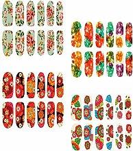 Evtech(tm) 4 Stück Colorful Floral Rose Peony Carnation Blumen-Muster-Nagellack-Strips 12 Doppelendfähren Nagel-Abziehbilder Strips Nagel-Kunst-Folien-Aufkleber Fashion Style Glitters-Nagel-Kunst-Werkzeug-Nagel-Aufkleber
