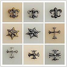 Evtech(tm) 9 Stück Nail Aufkleber Chrome Hearts 3D Alloy Goldene Silber Fashion Style Nagelkunstwerkzeug Carve-Nagel-Aufkleber-Dekoration-Aufkleber Glitter Tatoo