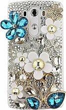 EVTECH(TM) Kristall Strasssteine Diamant Perle Blume Neu 3D DIY Handmade Bling Shining Glitter Transparent Protektiv Tasche Schutz Schale Harte Back Case Hülle Schutzhülle für LG Optimus G3 D850 VS985 D851(2014 Model)