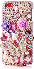 EVTECH(TM) Kristall Strasssteine Diamant Perle Blume Neu 3D DIY Handmade Bling Shining Glitter Transparent Protektiv Tasche Schutz Schale Harte Back Case Hülle Schutzhülle für iPod Touch 5th Generation 5G 5