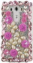 EVTECH(TM) Kristall Strasssteine Diamant Perle Blume Neu 3D DIY Handmade Bling Shining Glitter Transparent Protektiv Tasche Schutz Schale Harte Back Case Hülle Schutzhülle für LG G4 H815 H818