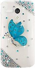EVTECH(TM) Kristall Strasssteine Diamant Perle Blume Neu 3D DIY Handmade Bling Shining Glitter Transparent Protektiv Tasche Schutz Schale Harte Back Case Hülle Schutzhülle für Moto G (XT1031, XT1032, XT1033, XT1034)