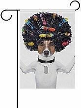 EW-OL-Garden flag Lustiger Hund mit dem lockigen