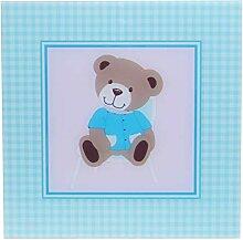 EWAX Glasbild mit Bär in Blau, kariert, 30x30cm