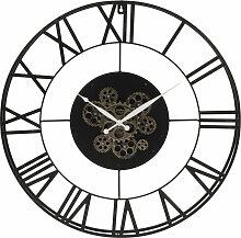 Ewige Uhr mit Räderwerk aus schwarzem Metall D.70