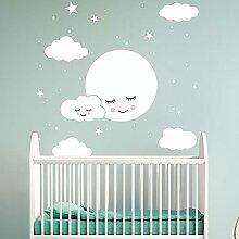 EWOUU Wand-Aufkleber Weiß Cartoon-Smiley Wolken