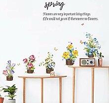 EWQHD Bunte Blumentopf Wand-Aufkleber Schlafzimmer