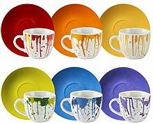 Excelsa Dripping Kaffeetassen, Porzellan, 6 Stück