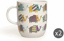 Excelsa Elefant Set 2 Jumbo-Tassen aus Porzellan