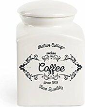 Excelsa Fine Quality Kaffee Vorratsdose, Keramik, Weiß