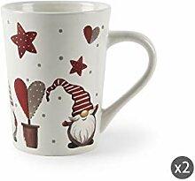 Excelsa Gnomo Christmas Set mit 2 Tassen, Keramik