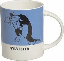 Excelsa Looney Tunes Sylvester Becher 300ml, Porzellan, Blau, 8.9x 8.9x 9cm