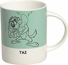 Excelsa Looney Tunes Taz Mug 300ml, Porzellan, hellblau, 8.9x 8.9x 9cm