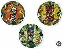 Excelsa Tiki Set aus 6 Pizzatellern, Porzellan