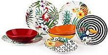 Excelsa Tropical Chic Tellerservice, 18-teilig,