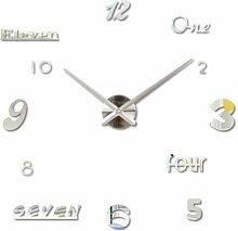 ExcLent Zahlen Briefe DIY Digital Wanduhr - Silber