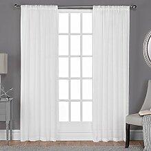 Exclusive Home Belgische Strukturierte Leinen Look Jacquard Sheer Fenster Vorhang Panel Paar mit Stab Tasche, Polyester, Winter White, 108x 50x 0,2cm