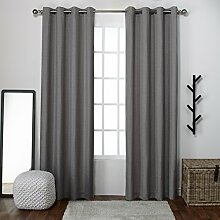 """Exclusive Home Curtains loha Leinen Spitze Tülle Fenster Vorhang-Paar, Polyester, Black Pearl, 108"""" Length"""