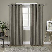 "Exclusive Home Curtains loha Leinen Spitze Tülle Fenster Vorhang-Paar, Polyester, Café, 84"" Length"