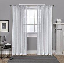 Exclusive Home Folie Belgische Metallic Leinen Sheer Rod Pocket Fenster Vorhang Panel Paar, Weiß, 54x 96cm