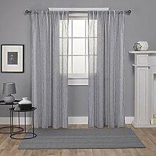 Exclusive Home Santos verziert Streifen Strukturierte Leinen Sheer Rod Pocket Fenster Vorhang Panel Paar, Taube grau, 54x 108cm