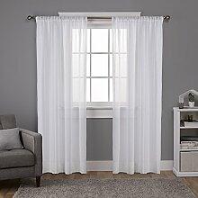 Exclusive Home Santos verziert Streifen Strukturierte Leinen Sheer Rod Pocket Fenster Vorhang Panel Paar, Weiß, 54x 84cm