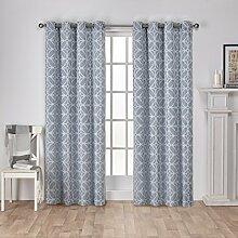 Exclusive Home Vorhänge Cressy Geometrisch Strukturierte Leinen-Jacquard-Tülle Top Fenster Vorhang Panel, Stahl Blau, 54x 108cm