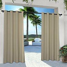 Exclusive Home Vorhänge eh8000–052–Solid Cabana Tülle Top-96g Fenster Vorhang Panel, taupe, 54x Beton, Set von 2