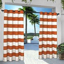 Exclusive Home Vorhänge eh8001–072–84g Indoor/Outdoor Cabana Stripe Tülle Top Fenster Vorhang Panel, Mekka Orange, 54x 84Zoll), 2Stück