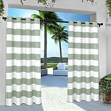 Exclusive Home Vorhänge eh8002–022–96G INDOOR/OUTDOOR Cabana Stripe Tülle Top Fenster Vorhang Panel, Sea Foam, 54x Beton, Set von 2