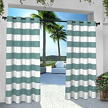 Exclusive Home Vorhänge eh8002–032–96G INDOOR/OUTDOOR Cabana Stripe Tülle Top Fenster Vorhang Panel, Blaugrün, 54x Beton, Set von 2