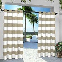 Exclusive Home Vorhänge eh8002–052–96G INDOOR/OUTDOOR Cabana Stripe Tülle Top Fenster Vorhang Panel, taupe, 54x Beton, Set von 2