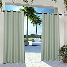 Exclusive Home Vorhänge eh8112–02 2 – Solid Cabana Tülle Top-108 g Fenster Vorhang Panel, Sea Foam, 54 x 274 cm, Set von 2
