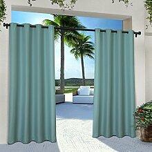 Exclusive Home Vorhänge eh8112–032–Solid Cabana Tülle Top-108g Fenster Vorhang Panel, Blaugrün, 54x 274cm, Set von 2