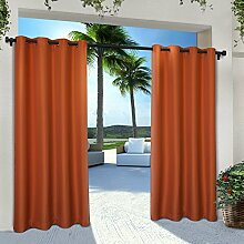 Exclusive Home Vorhänge eh8112–07 2 – Solid Cabana Tülle Top-108 g Fenster Vorhang Panel, Mekka Orange, 54 x 274 cm, Set von 2