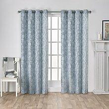 Exclusive Home Vorhänge Lamont Ast und Vine Strukturierte Leinen-Jacquard-Tülle Top Fenster Vorhang Panel, Stahl Blau, 54x 96cm