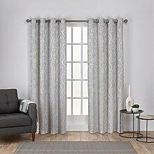 Exclusive Home Vorhänge Lamont AST und Vine Strukturierte Leinen-Jacquard-Tülle Top Fenster Vorhang Panel, Taube Grau, 54x 84cm