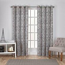 Exclusive Home Vorhänge Lamont Ast und Vine Strukturierte Leinen-Jacquard-Tülle Top Fenster Vorhang Panel, Esche grau, 54x 84cm