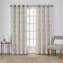 Exclusive Home Vorhänge Montrose Ogee Geometrisch Strukturierte Leinen-Jacquard-Tülle Top Fenster Vorhang Panel, Bettwäsche, 54x 96cm
