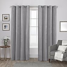 Exclusive Home Vorhänge Tülle Top Fenster Vorhang Panel P, Polyester, Soft Grey, 54x96