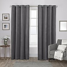 Exclusive Home Vorhänge Tülle Top Fenster Vorhang Panel P, Polyester, Soft Grey, 54x84